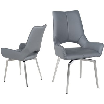 Spinello Grey Faux Leather Swivel Dining Chair with Brushed Stainless Steel Legs (Pair)
