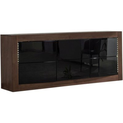 Doulton Walnut Sideboard with LED - Large Wide Black Glass 3 Door