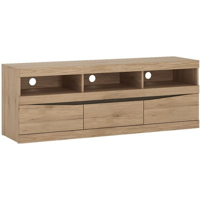 Trieste Oak TV Unit - Wide 3 Drawer