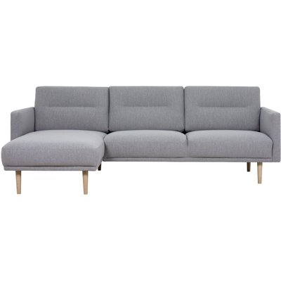 Larvik Grey Fabric Left Hand Facing Chaise Longue Sofa with Oak Legs