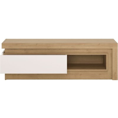 Bari Riviera Oak and White High Gloss TV Cabinet - 1 Drawer Open Shelf (Including Led Lighting)