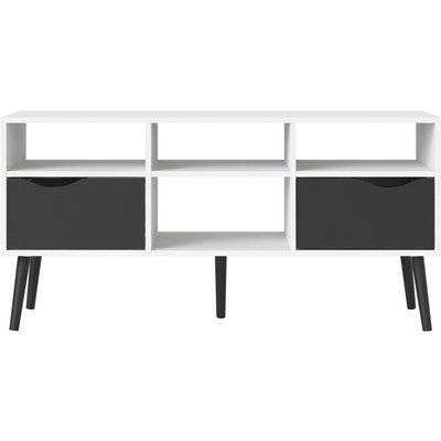 Oslo Wide TV Unit - White and Black Matt