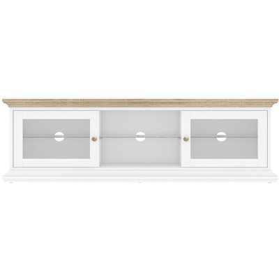 Paris Wide TV Unit - White and Oak
