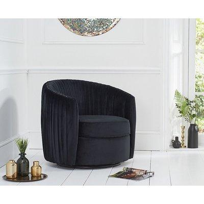 Mark Harris Sarana Black Velvet Swivel Chair