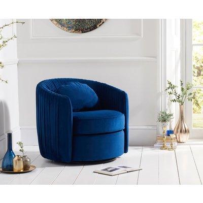 Mark Harris Sarana Blue Velvet Swivel Chair