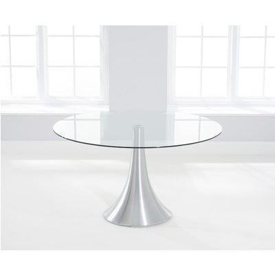 Mark Harris Petra Round Dining Table - Glass and Chrome