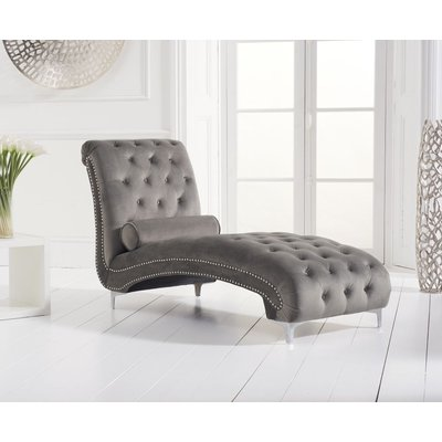Mark Harris New England Grey Velvet Fabric Chaise Longue