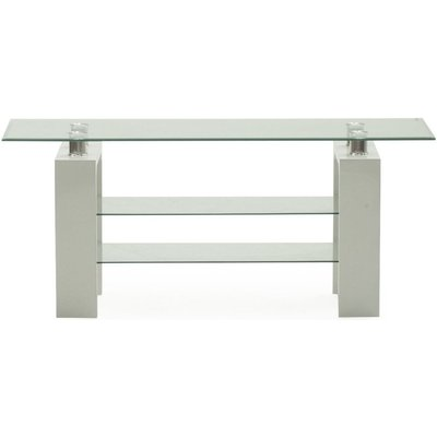 Vida Living Calico Glass Top White TV Stand