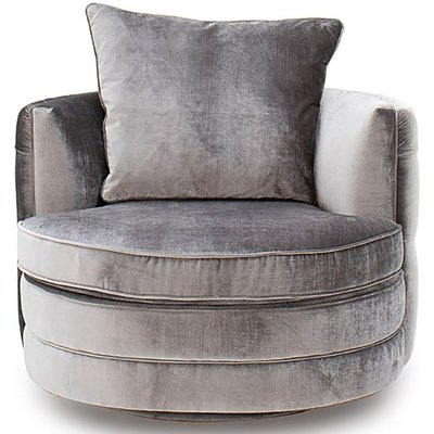 Vida Living Nicolette Silver Velvet Swivel Chair