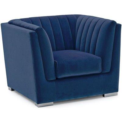 Vida Living Upton Blue Fabric Armchair with Chrome Legs
