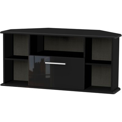 Welcome Living Room Furniture High Gloss Black TV Unit - Corner