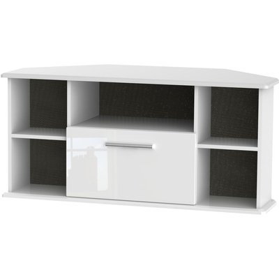 Welcome Living Room Furniture High Gloss White TV Unit - Corner