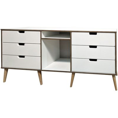 Shanghai White 6 Drawer TV Unit with Natural Legs