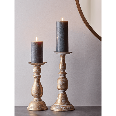 Aged Metal Candle Holder - Small
