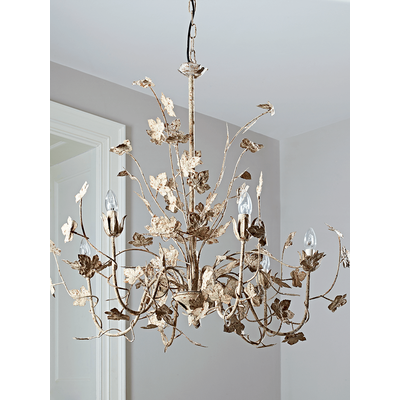 Antique White Leaves Chandelier (Sample)