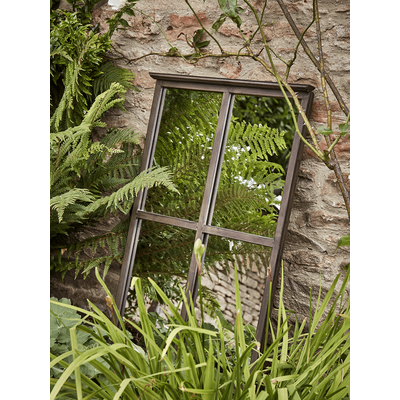 Antiqued Outdoor Window Mirror