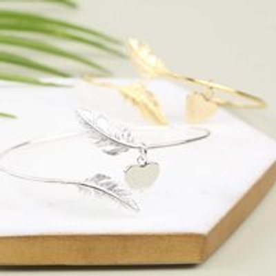 Personalised Feather Bangle in Gold or Silver - Silver