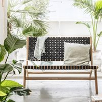 Frame Woven Garden Bench in Anthracite by Woood