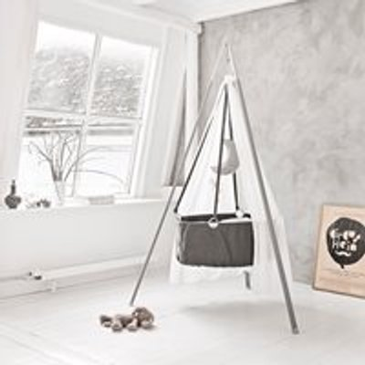 Leander Hanging Baby Cradle with Stand & Mattress - Grey