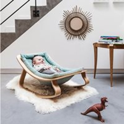Levo Baby Rocker in Beech Wood with Aruba Blue Cushion