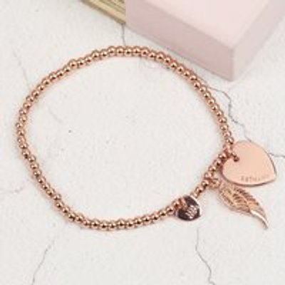 Personalised Beaded Wing Charm Bracelet in Silver or Rose Gold - Rose Gold