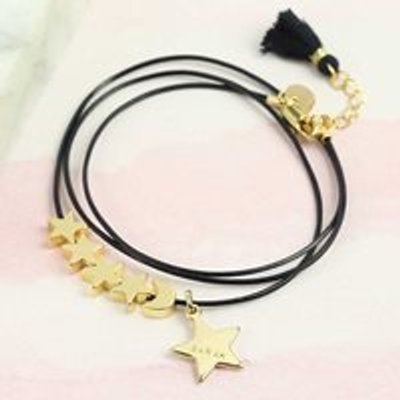 Personalised Gold Moon and Star Bracelet