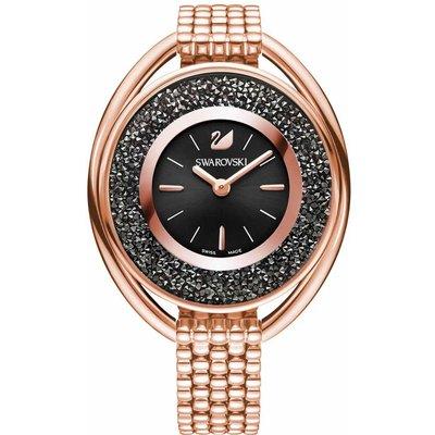 Swarovski Crystalline Oval Watch, Black, Rose Gold Plated