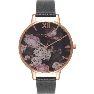 Olivia Burton Winter Garden Hydrangea Black & Rose Gold Watch