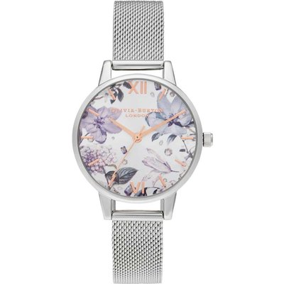 Olivia Burton Bejewelled Florals Midi Silver & Rose Gold Mesh Watch