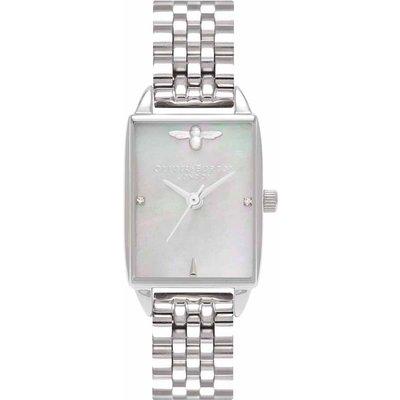 Olivia Burton Bee Hive Grey Mother of Pearl & Silver Bracelet Watch