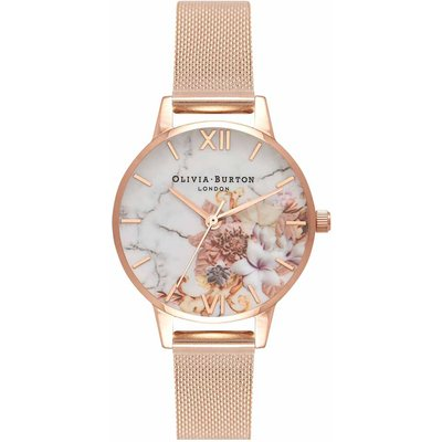Olivia Burton Marble Floral Rose Gold Mesh Watch