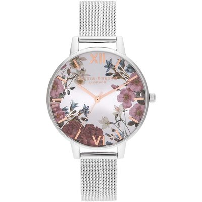 Olivia Burton British Blooms Rose Gold & Silver Mesh Watch