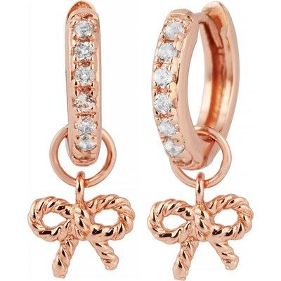 Olivia Burton Vintage Bow Huggie Hoop Rose Gold Earrings