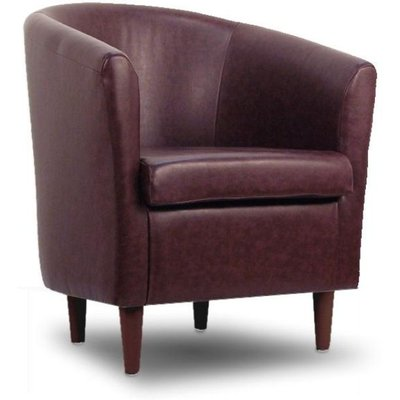 Leather Bucket Tub Chair Rosewood
