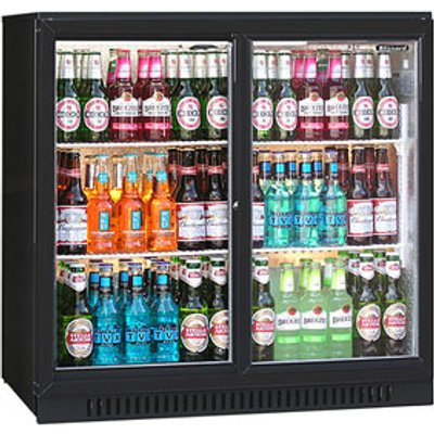 Blizzard BAR-2 Bottle Cooler Black (Sliding Doors)