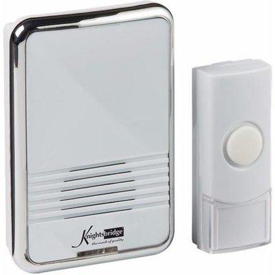 KnightsBridge 80m Range Wireless Plug In Chrome Door Bell Chime & Push - White