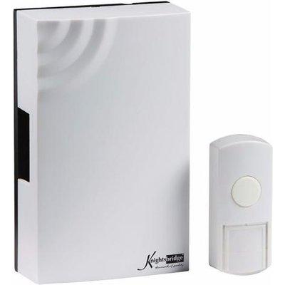 KnightsBridge 100m Range Wireless Wired Mechanical Door Bell Chime & Push White