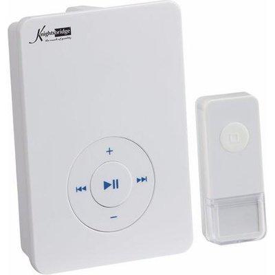 KnightsBridge 200m Range Wireless MP3 Door Bell Chime & Push - White