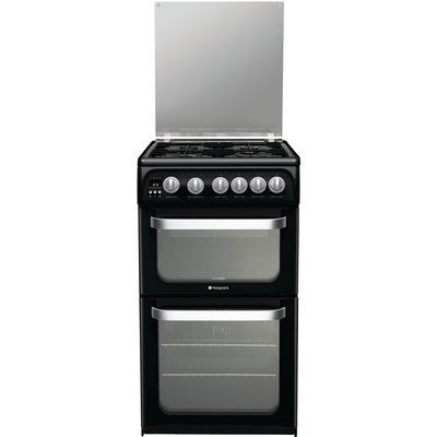 Hotpoint HUG52K 50cm Freestanding Gas Cooker in Black with FSD - 5016108630426