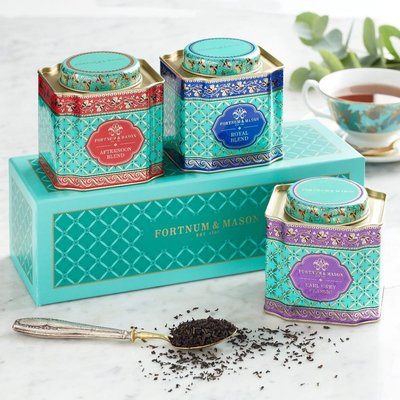 Fortnum & Mason Decorative Loose Leaf Tea Gift Caddy Selection, 3 x 50g