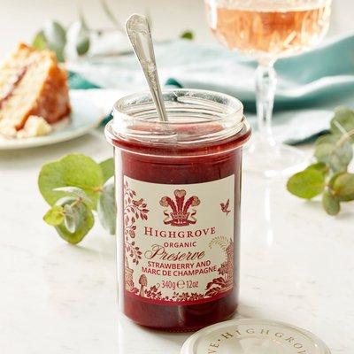 Highgrove Organic Strawberry Preserve With Marc De Champagne, 340G