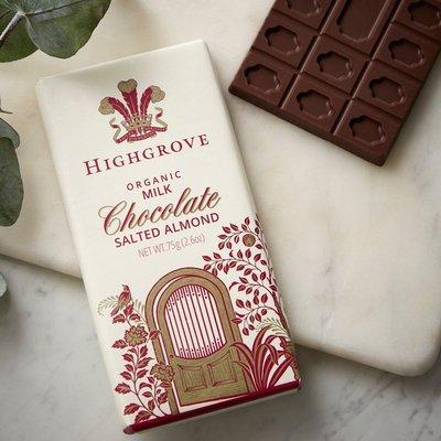Fortnum & Mason Highgrove, Organic Salted Almond Chocolate Bar, 75G