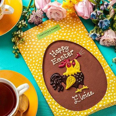Fortnum & Mason Personalised Chocolate Easter Cockerel Plaque