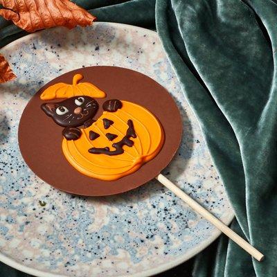 Fortnum & Mason Halloween Black Cat in a Pumpkin Chocolate Lolly, 70g