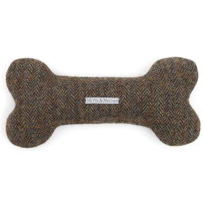 Fortnum & Mason Mutts & Hounds Harris Tweed Bone Dog Toy, Small