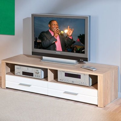 Utopia LCD TV Stand In Sonoma Oak With 2 Drawers In White Fronts