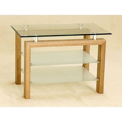 Adina Clear Glass TV Unit With Frosted Undershelf Walnut Wooden