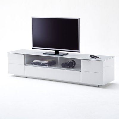 Canberra LCD TV Stand In Glass Top And White Gloss With 2 Door