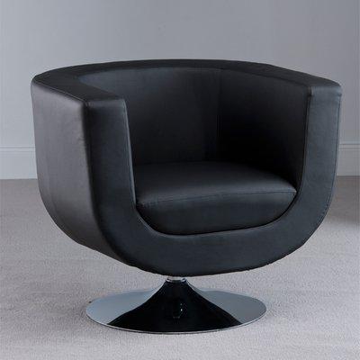 Havana Swivel Black Faux Leather Tub Chair