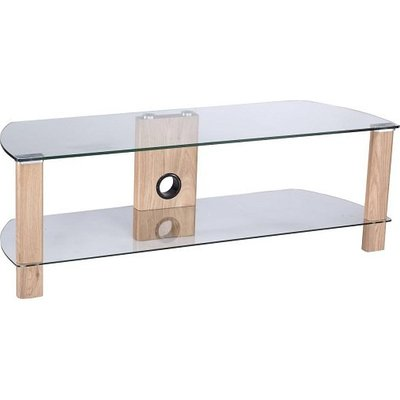Sligo Glass LCD TV Stand In Clear And Light Oak With Undershelf